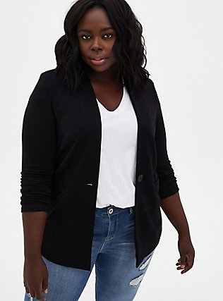 Black Ponte Collarless Blazer, DEEP BLACK, hi-res