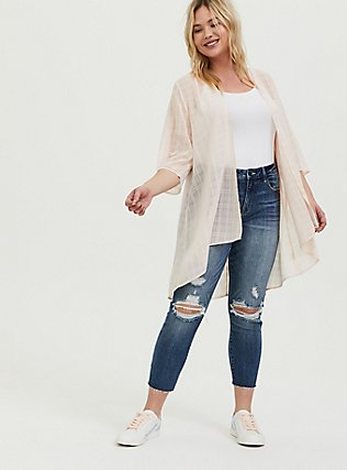 Plus Size Light Pink Plaid Chiffon Kimono, PEACH BLUSH, alternate