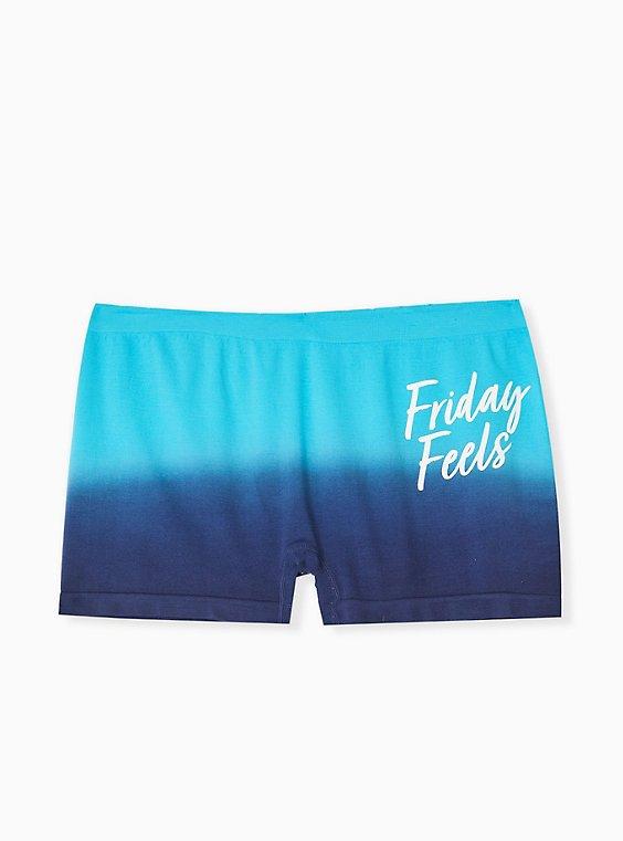 Plus Size Friday Feels Navy Ombre Seamless Boyshort Panty , , hi-res