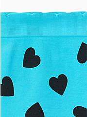 Blue & Black Heart Seamless Thong Panty, HEARTY- TURQUOISE, alternate