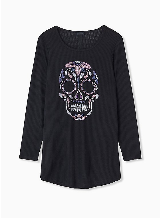 Black Skull Waffle Knit V-Neck Long Sleeve Tee, DEEP BLACK, hi-res