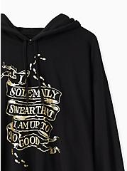 Harry Potter Solemnly Swear Black Crop Hoodie, DEEP BLACK, alternate