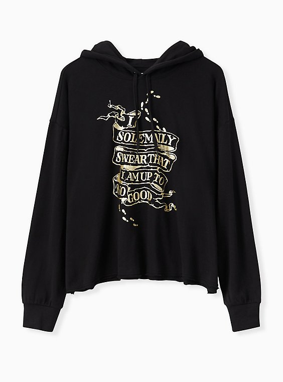 Harry Potter Solemnly Swear Black Crop Hoodie, , hi-res