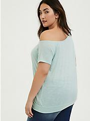 Mint Blue Featherlight Slub Off Shoulder Tee, HARBOR GRAY, alternate