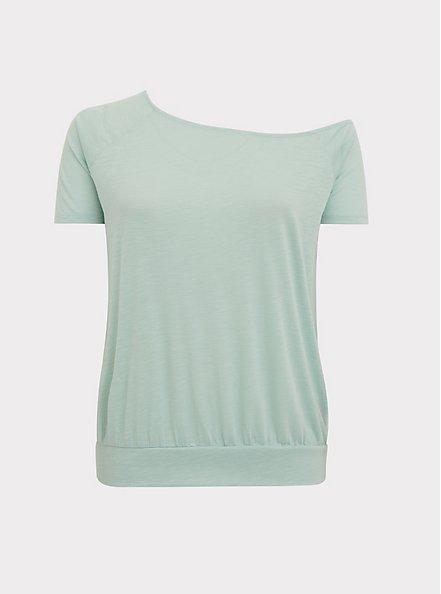Mint Blue Featherlight Slub Off Shoulder Tee, HARBOR GRAY, hi-res