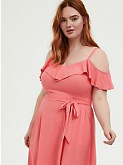 Coral Textured Cold Shoulder Self Tie Midi Dress, WILD ORANGE, alternate