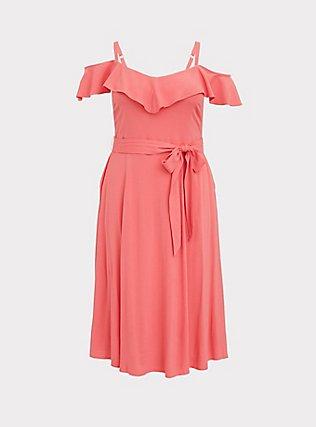 Coral Textured Cold Shoulder Self Tie Midi Dress, WILD ORANGE, flat