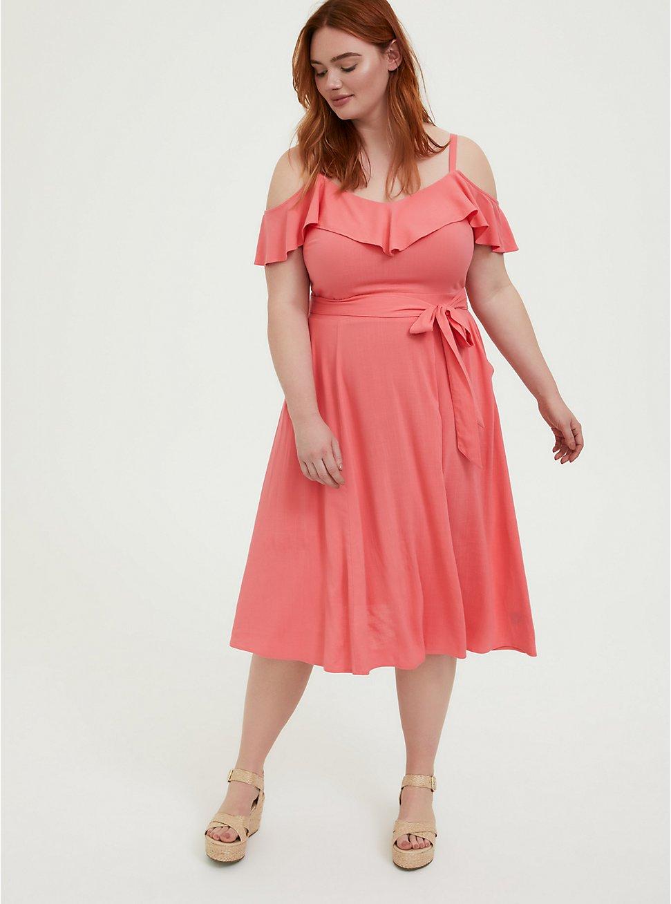 Plus Size Coral Textured Cold Shoulder Self Tie Midi Dress, WILD ORANGE, hi-res