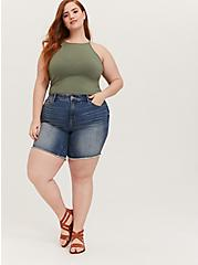 Light Olive Green High Neck Crop Foxy Cami, , alternate