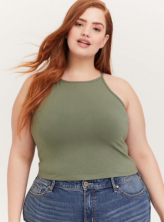 Plus Size Light Olive Green High Neck Crop Foxy Cami, , hi-res
