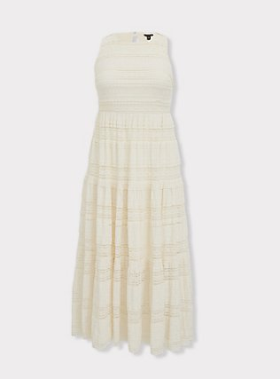 Ivory Lace Tiered Maxi Dress, NATURAL, flat