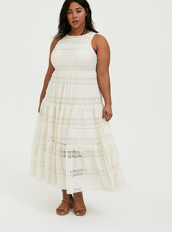 Plus Size Ivory Lace Tiered Maxi Dress, , hi-res