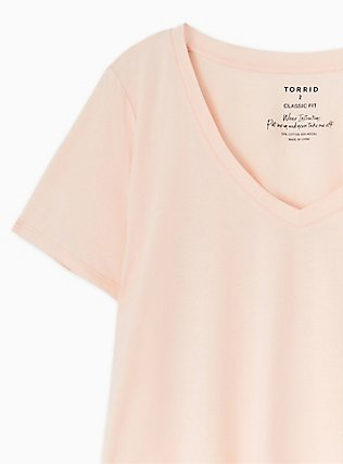 Crop Classic Fit V-Neck Tee - Heritage Cotton Light Pink , , alternate