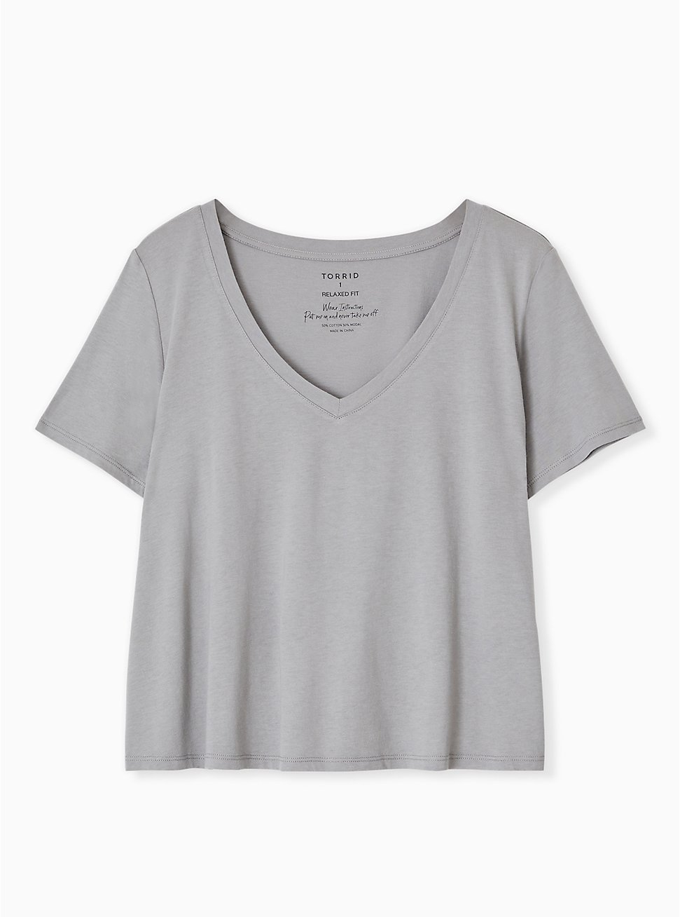 Crop Classic Fit V-Neck Tee - Heritage Cotton Grey, , hi-res