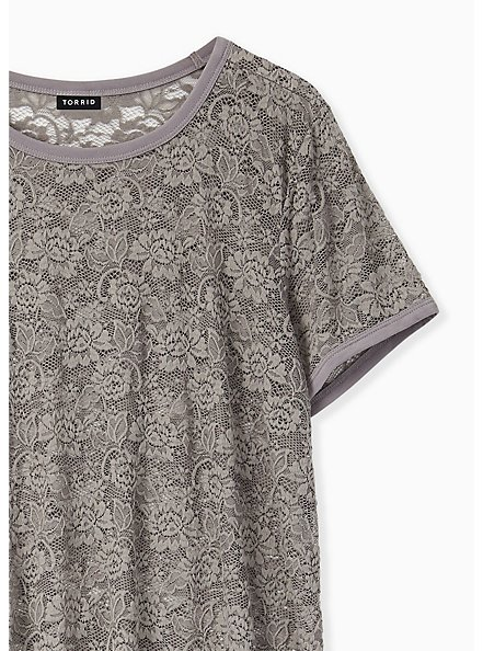 Grey Lace Crew Tee, FROST GRAY, alternate