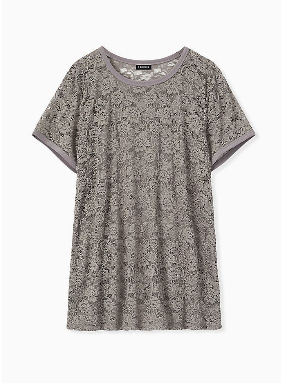Grey Lace Crew Tee, , hi-res