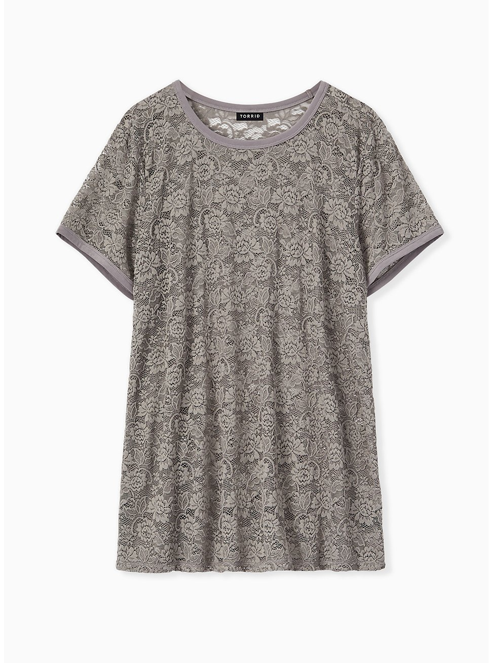 Grey Lace Crew Tee, FROST GRAY, hi-res