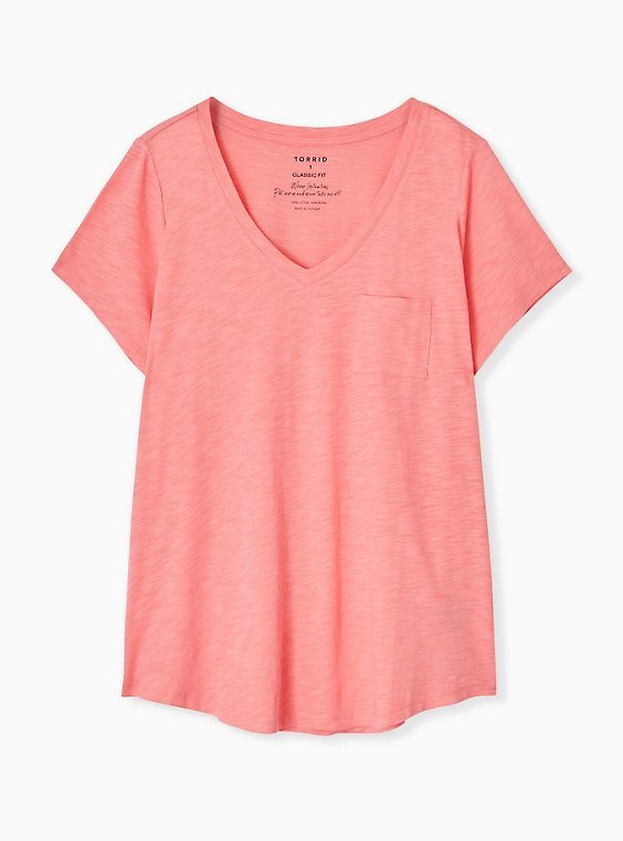 Plus Size Classic Fit Pocket Tee - Heritage Slub Coral, , hi-res