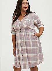 Lilac Purple & Peach Plaid Zip Front Drawstring Challis Shirt Dress, PLAID - MULTI, alternate
