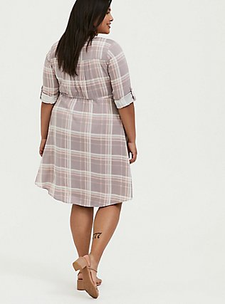 Plus Size Lilac Purple & Peach Plaid Zip Front Drawstring Challis Shirt Dress, PLAID - MULTI, alternate