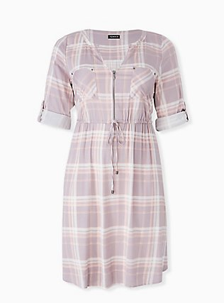 Plus Size Lilac Purple & Peach Plaid Zip Front Drawstring Challis Shirt Dress, PLAID - MULTI, flat
