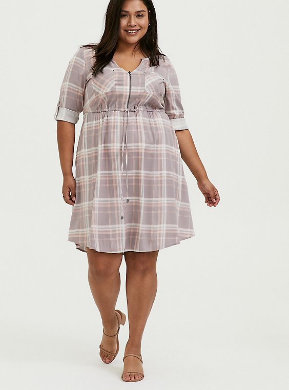 Plus Size Lilac Purple & Peach Plaid Zip Front Drawstring Challis Shirt Dress, , hi-res
