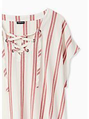 Red Stripe Gauze Lace-Up Dolman Blouse, STRIPE - WHITE, alternate