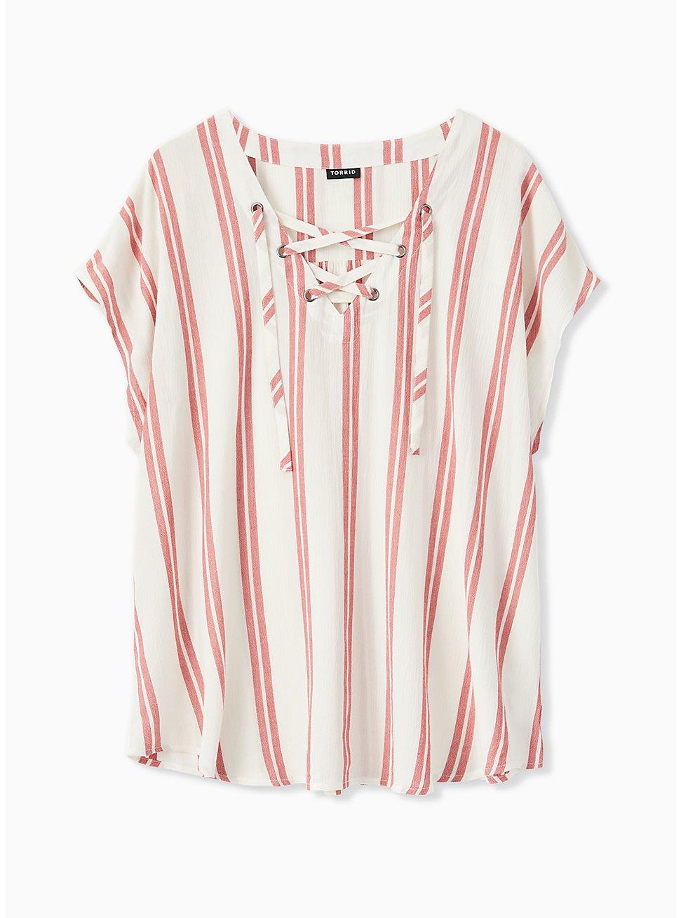 Red Stripe Gauze Lace-Up Dolman Blouse, STRIPE - WHITE, hi-res