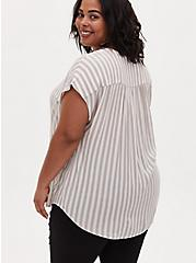 Taupe Stripe Gauze Lace-Up Dolman Blouse , STRIPE - GREY, alternate
