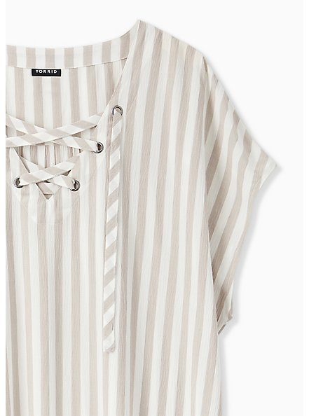 Taupe Stripe Gauze Lace-Up Dolman Blouse , STRIPE - GREY, alternate