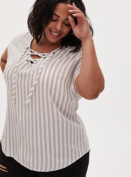 Taupe Stripe Gauze Lace-Up Dolman Blouse , STRIPE - GREY, hi-res