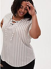 Taupe Stripe Gauze Lace-Up Dolman Blouse , STRIPE - GREY, hi-res