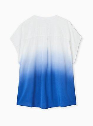 Sapphire Blue Dip-Dye Challis Button Front Dolman Blouse , MEDIUM BLUE, alternate