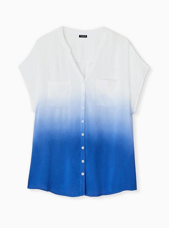 Plus Size Sapphire Blue Dip-Dye Challis Button Front Dolman Blouse , , hi-res