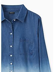 Blue Chambray Bleach Dip Button Front Shirt , MEDIUM BLUE, alternate