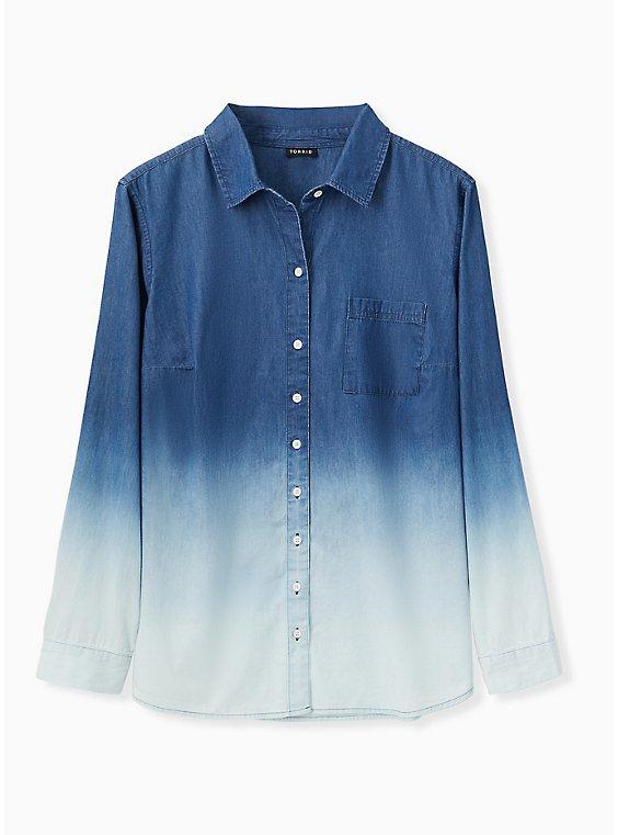 Plus Size Blue Chambray Bleach Dip Button Front Shirt , , hi-res