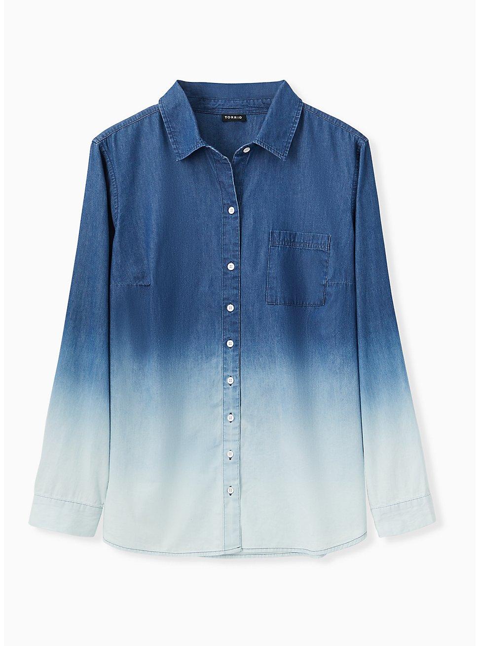 Blue Chambray Bleach Dip Button Front Shirt , MEDIUM BLUE, hi-res