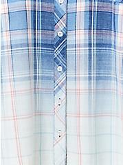 Plus Size Blue & Pink Plaid Bleach Dip Button Front Shirt , PLAID - BLUE, alternate