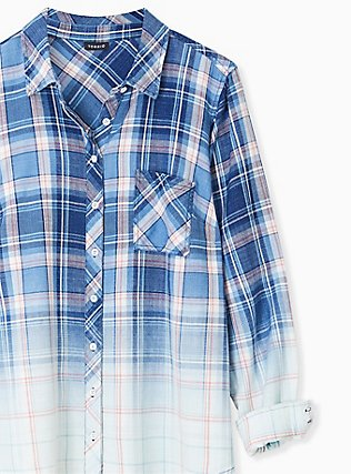 Blue & Pink Plaid Bleach Dip Button Front Shirt , PLAID - BLUE, alternate