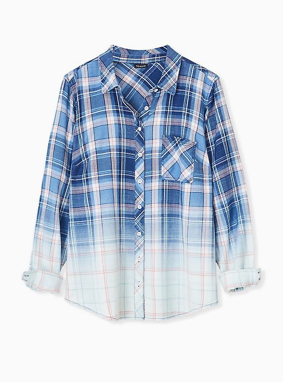 Plus Size Blue & Pink Plaid Bleach Dip Button Front Shirt , , hi-res
