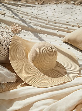 Tan Straw Oversized Floppy Hat, NATURAL, pdped