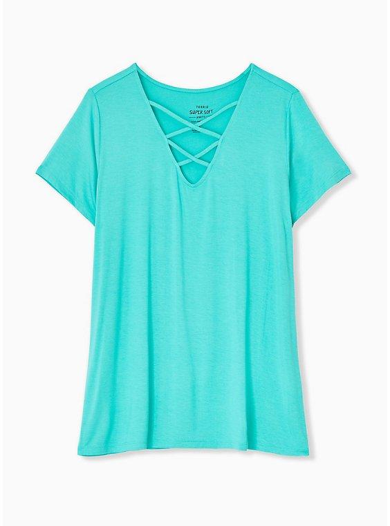 Super Soft Turquoise Lattice V-Neck Tee, , hi-res