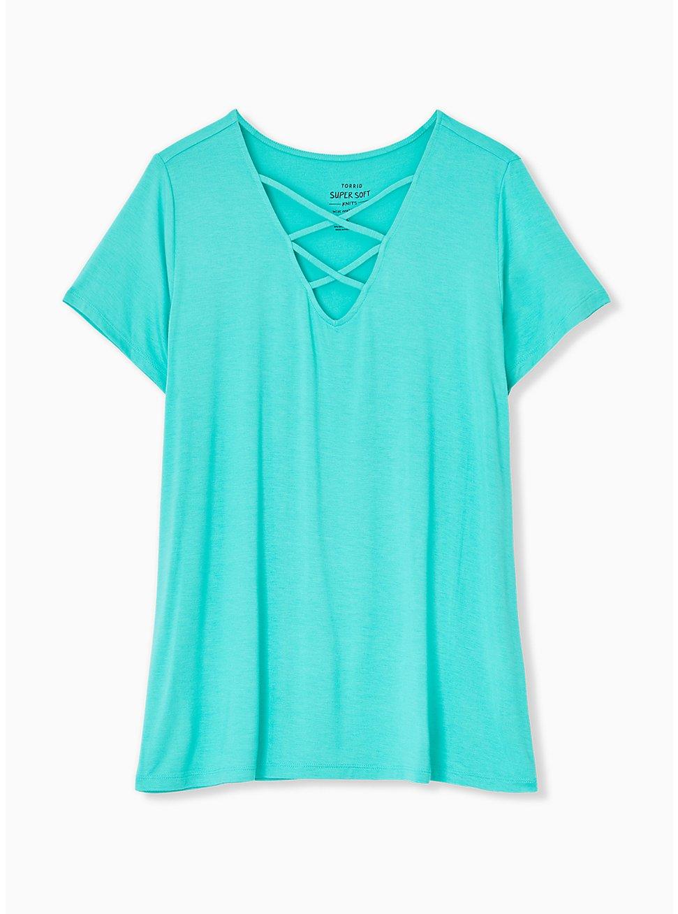Plus Size Super Soft Turquoise Lattice V-Neck Tee, , hi-res