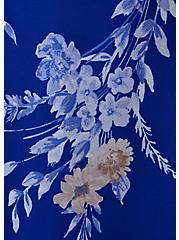 Electric Blue Floral Chiffon Shirred Hem Skater Dress, FLORALS-BLUE, alternate