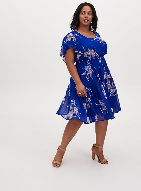 Plus Size Electric Blue Floral Chiffon Shirred Hem Skater Dress, , hi-res