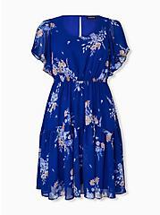 Electric Blue Floral Chiffon Shirred Hem Skater Dress, FLORALS-BLUE, hi-res