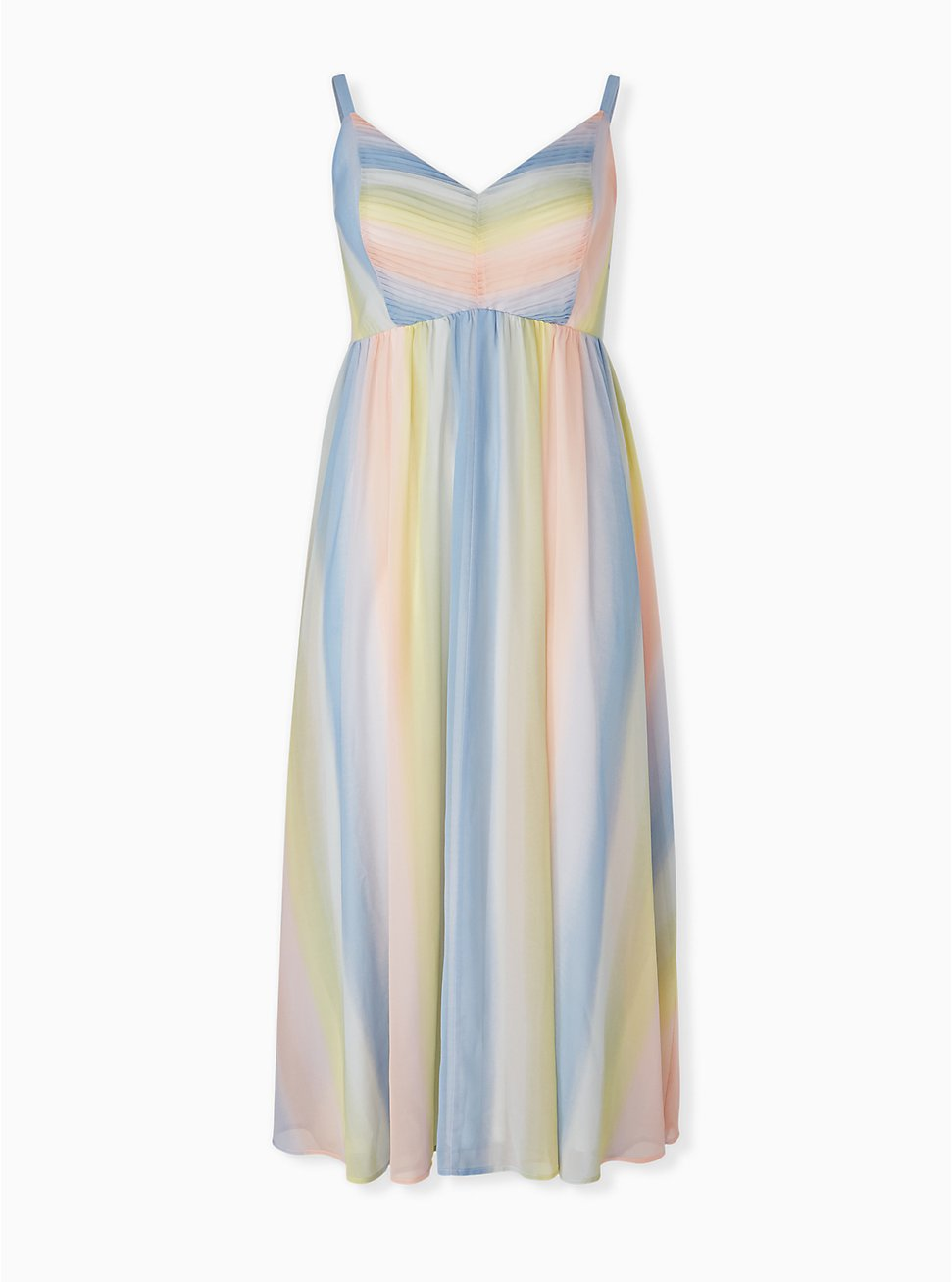 Pastel Stripe Chiffon Pleated Maxi Dress, STRIPE - MULTI, hi-res