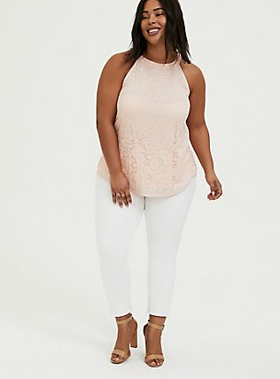 Light Pink Lace Goddess Tank, PEACH BLUSH, alternate