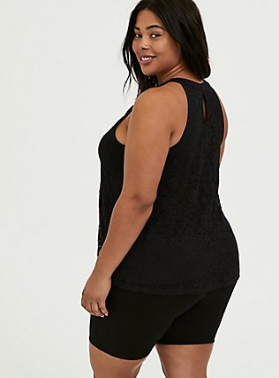 Black Lace Goddess Tank, DEEP BLACK, alternate
