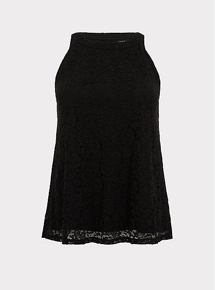 Black Lace Goddess Tank, DEEP BLACK, hi-res